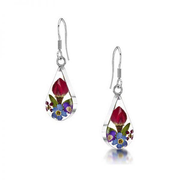 Mixed Flowers Silver Drop Earrings