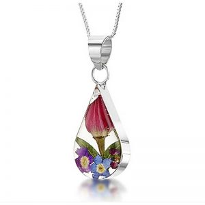 Mixed Flowers Silver Teardrop Necklace