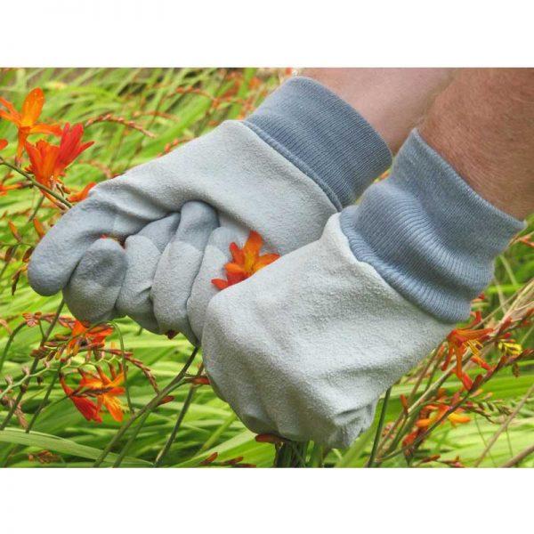 RHS Tough Tips Gardening Gloves, Grey Size Large