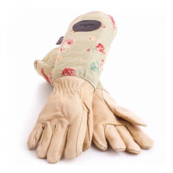 Bradleys Green Floral Leather Linen Gloves