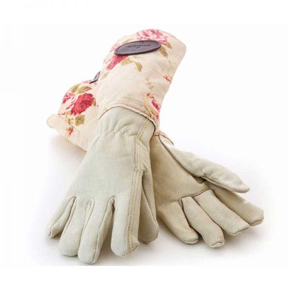 Bradleys Pink Floral Leather Linen Gloves