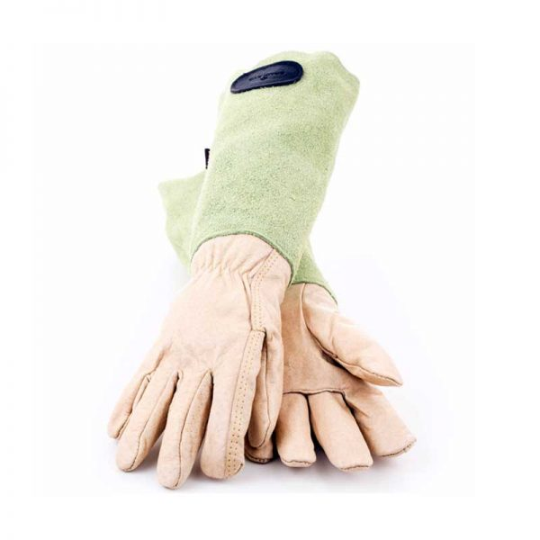 Bradleys Green Suede Leather Gauntlet Gloves