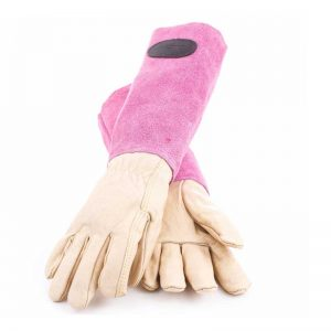 Bradleys Pink Suede Leather Gauntlet Gloves
