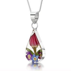 Mixed Flowers Silver Teardrop