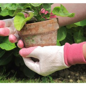 RHS Tough Tips Gardening Gloves, Pink Size small