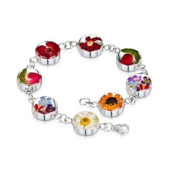 mixed flowers silver bracelet