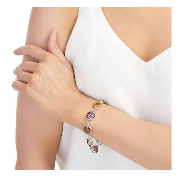mixed flowers silver bracelet lifestyle