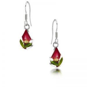 Rose Silver Teardrop Earrings