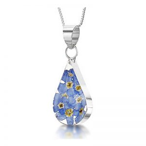 Forget-me-not Silver Teardrop Necklace