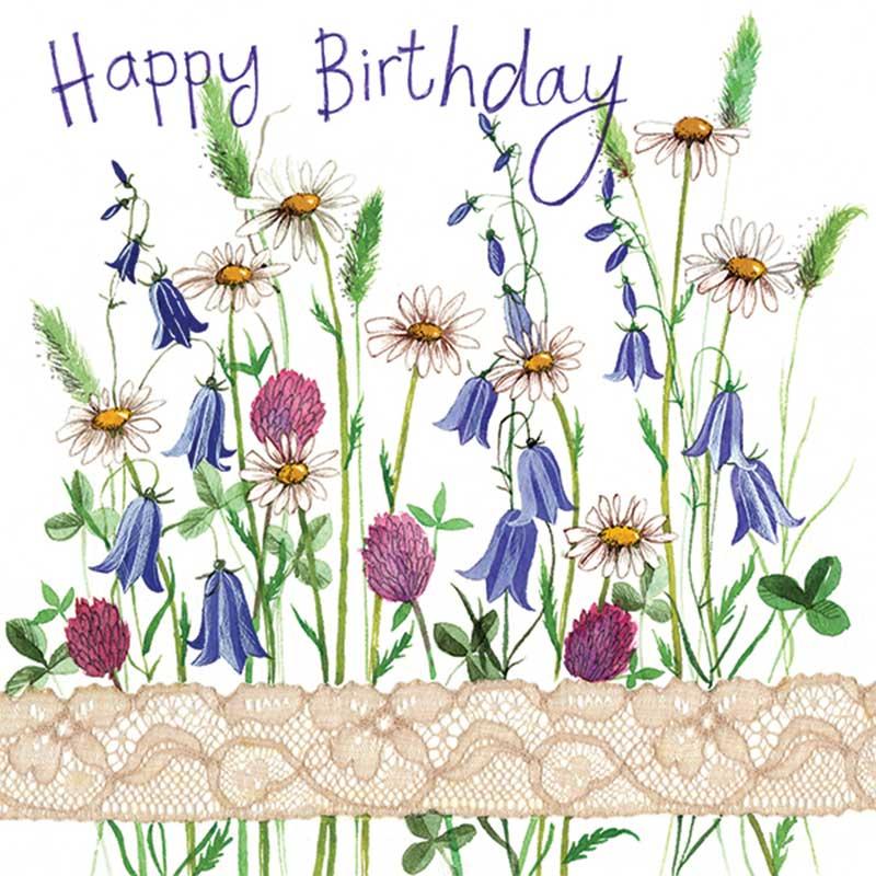 country flowers sparkle birthday card  garden divas